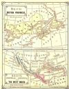 CANADA 1868: West + Mexico/Caribbean. Old antique maps. 2 on 1 sheet. Warren.